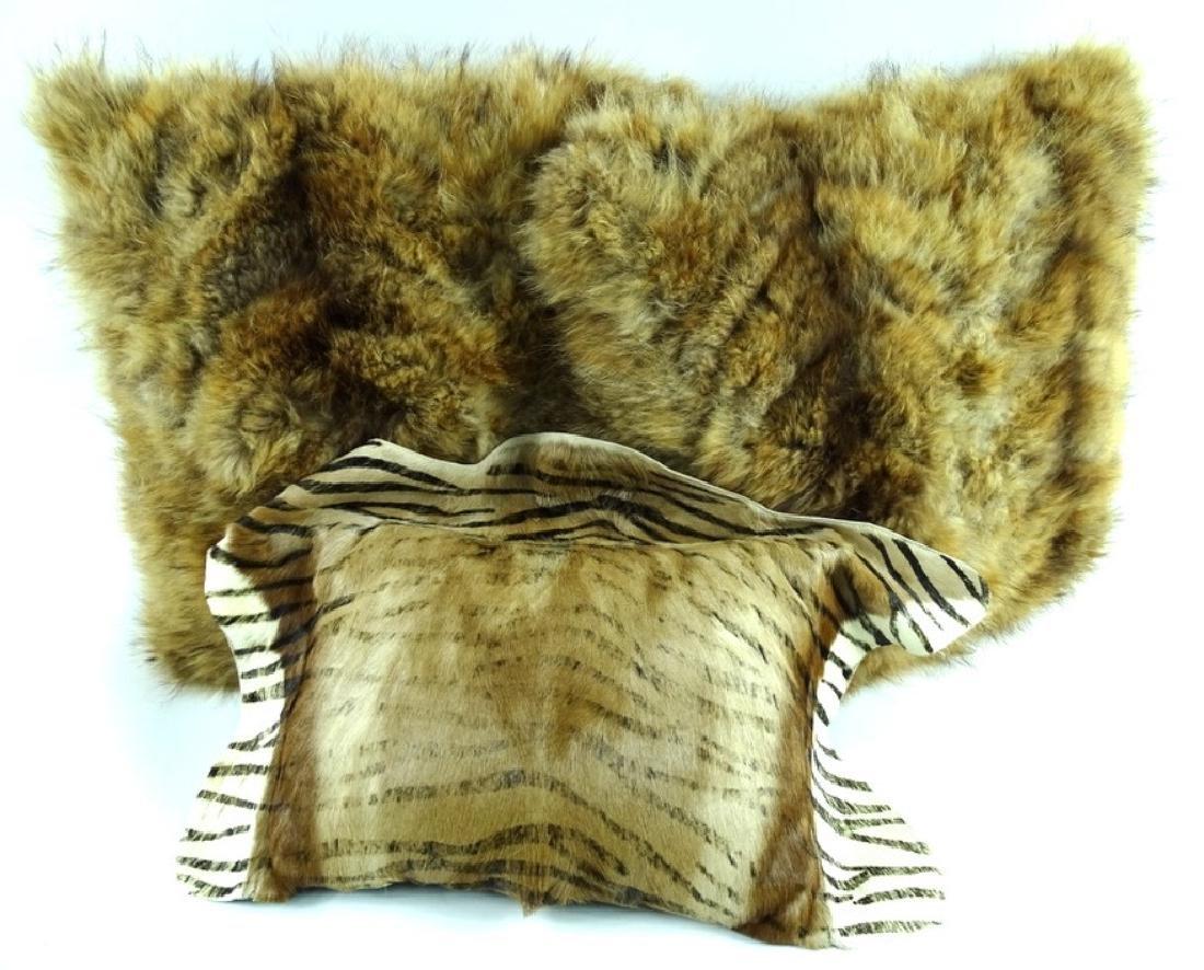 (3) Three Vintage African Furr Zebra Pillows
