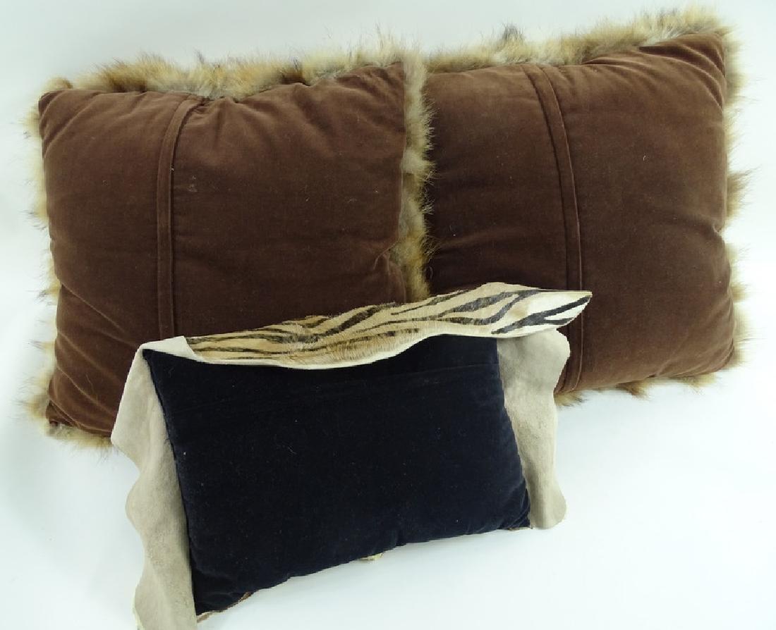 (3) Three Vintage African Furr Zebra Pillows - 4