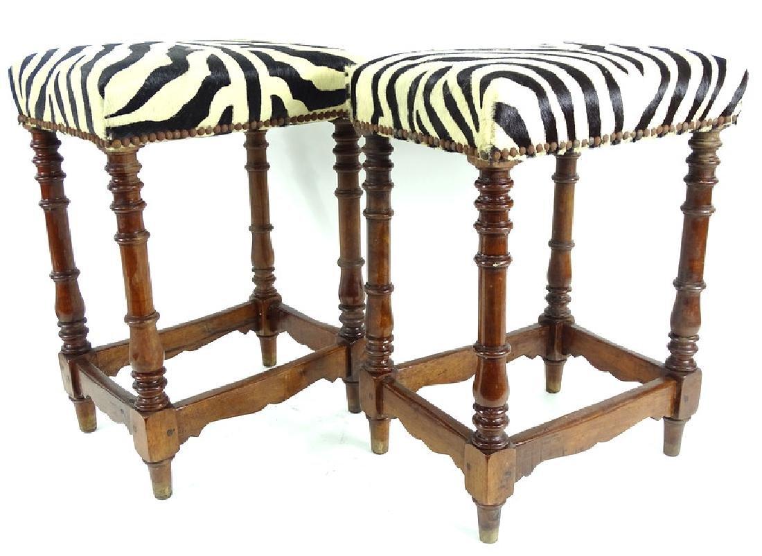 Vintage Zebra Upholstered Wooden Bench Stools