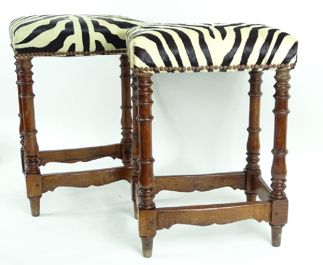 Vintage Zebra Upholstered Wooden Bench Stools - 4