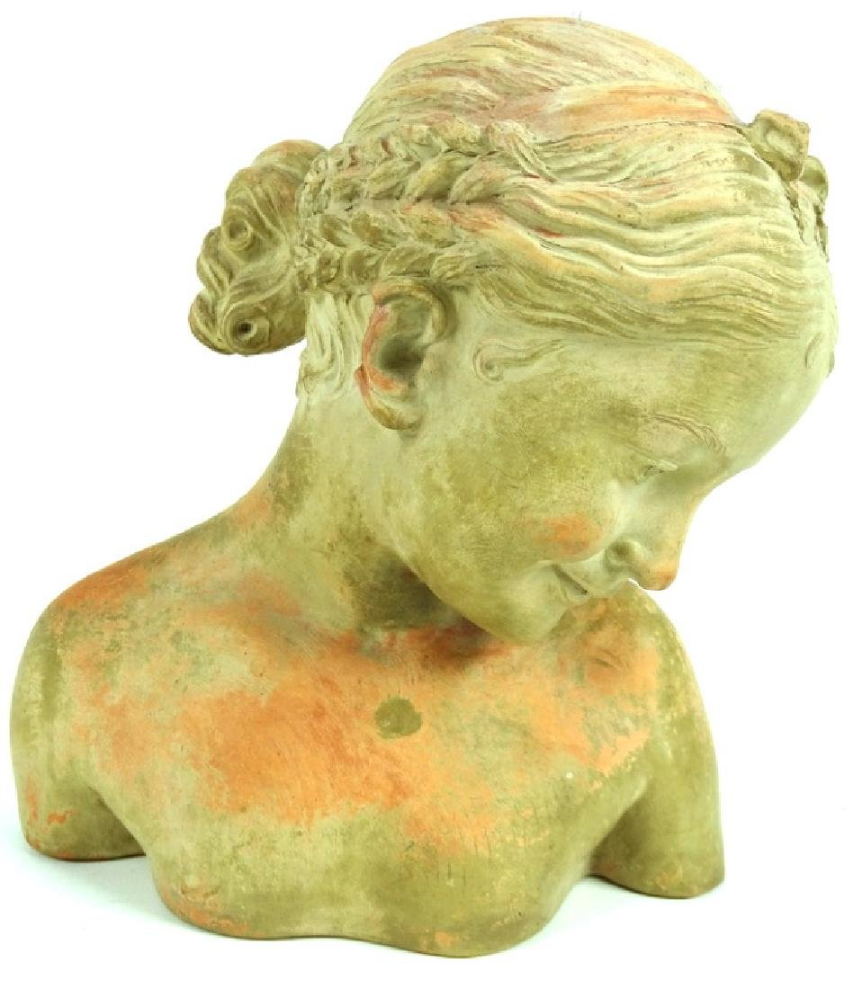 Antique French Terracotta Bust of A Young Girl