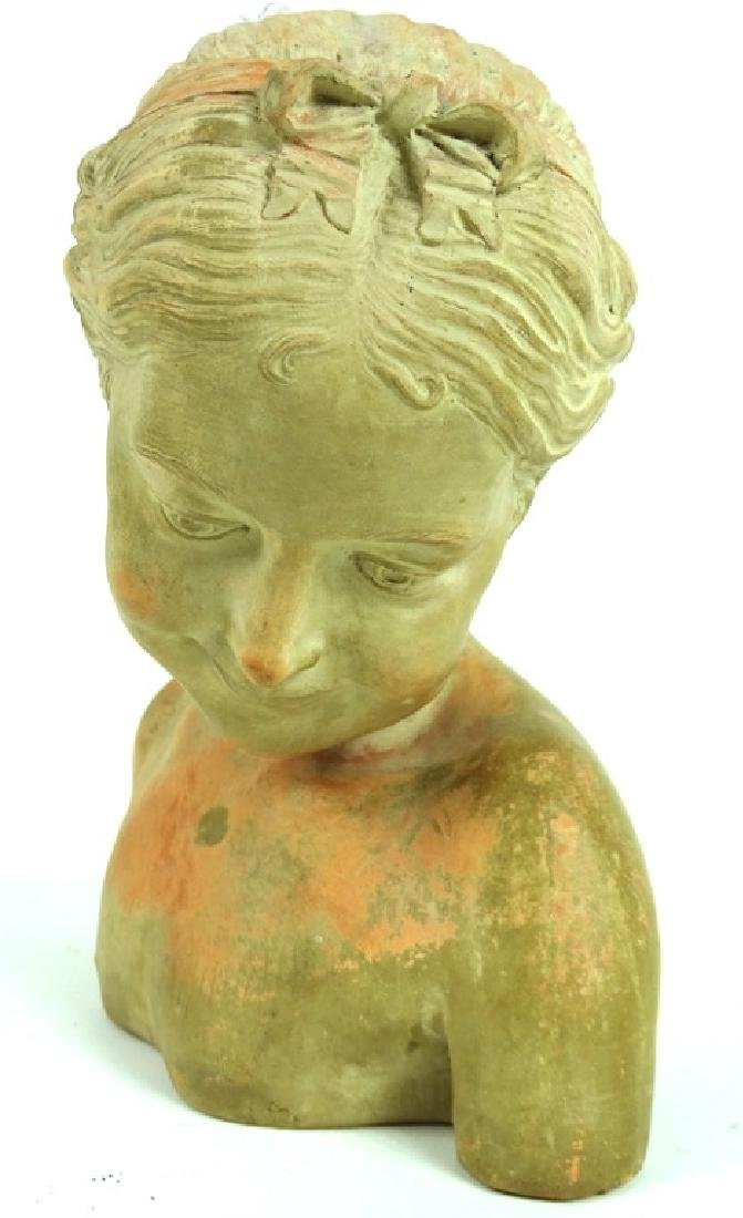 Antique French Terracotta Bust of A Young Girl - 3