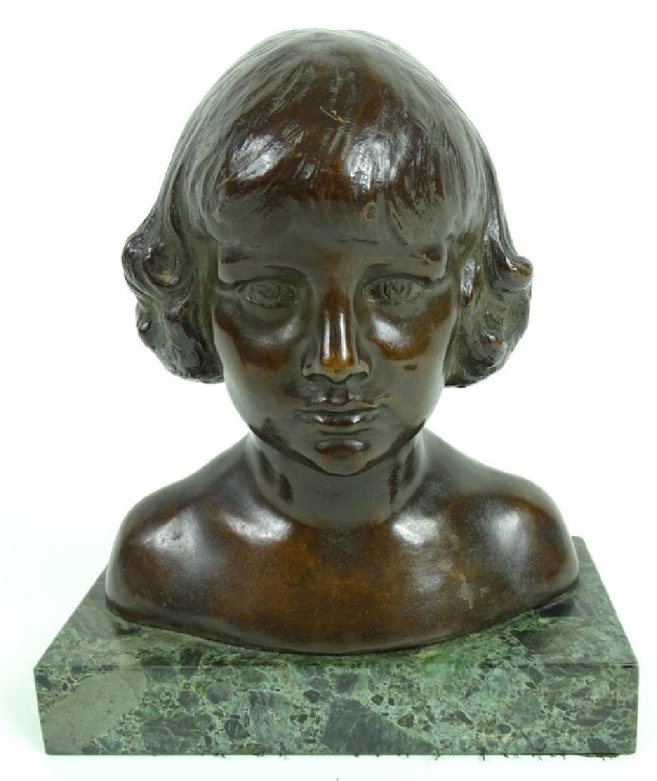 20th C. Tom Jones Bronze Bust of a Girl on Marble