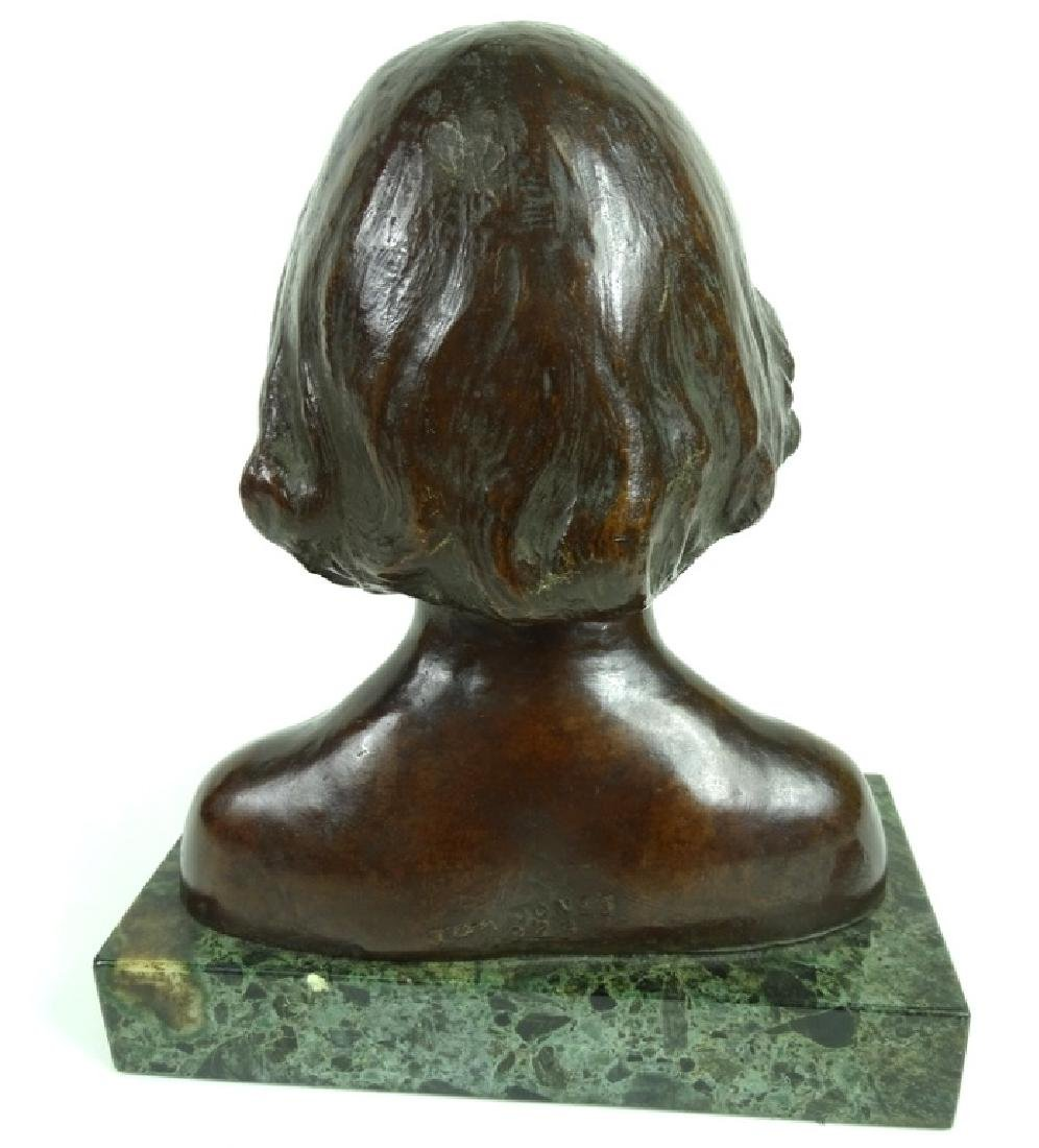 20th C. Tom Jones Bronze Bust of a Girl on Marble - 3