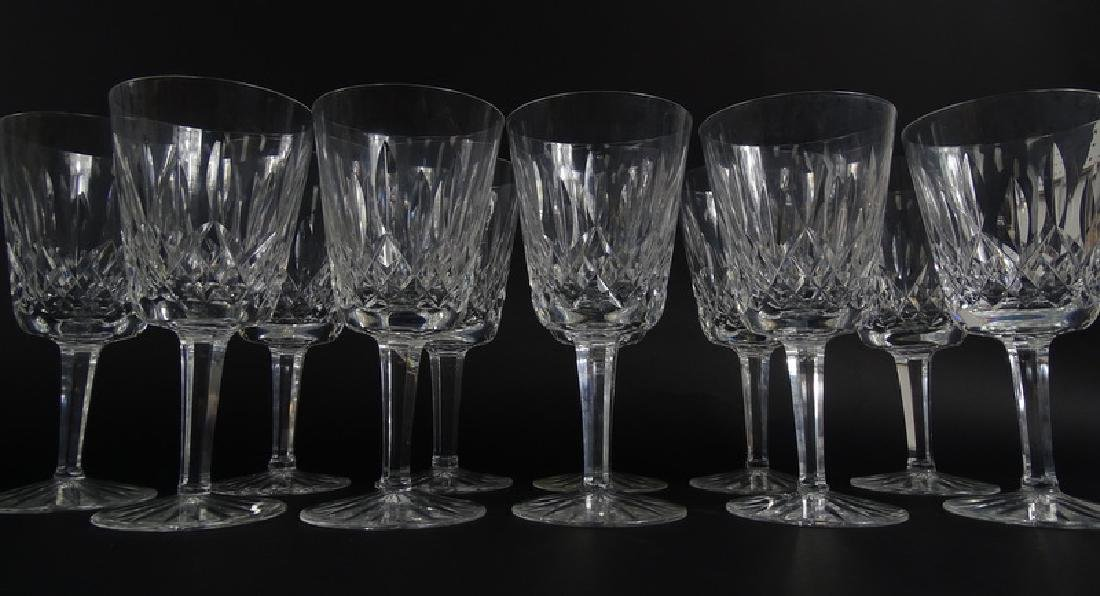 12 Waterford Lismore Cut Crystal Water Goblets - 2