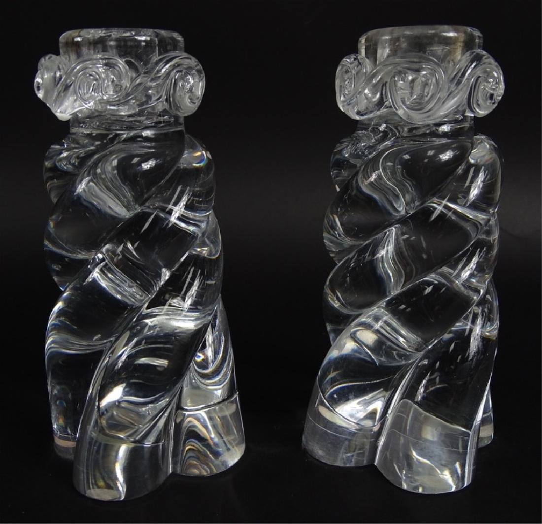 Pair of Baccarat French Crystal Swirl Candlesticks - 2