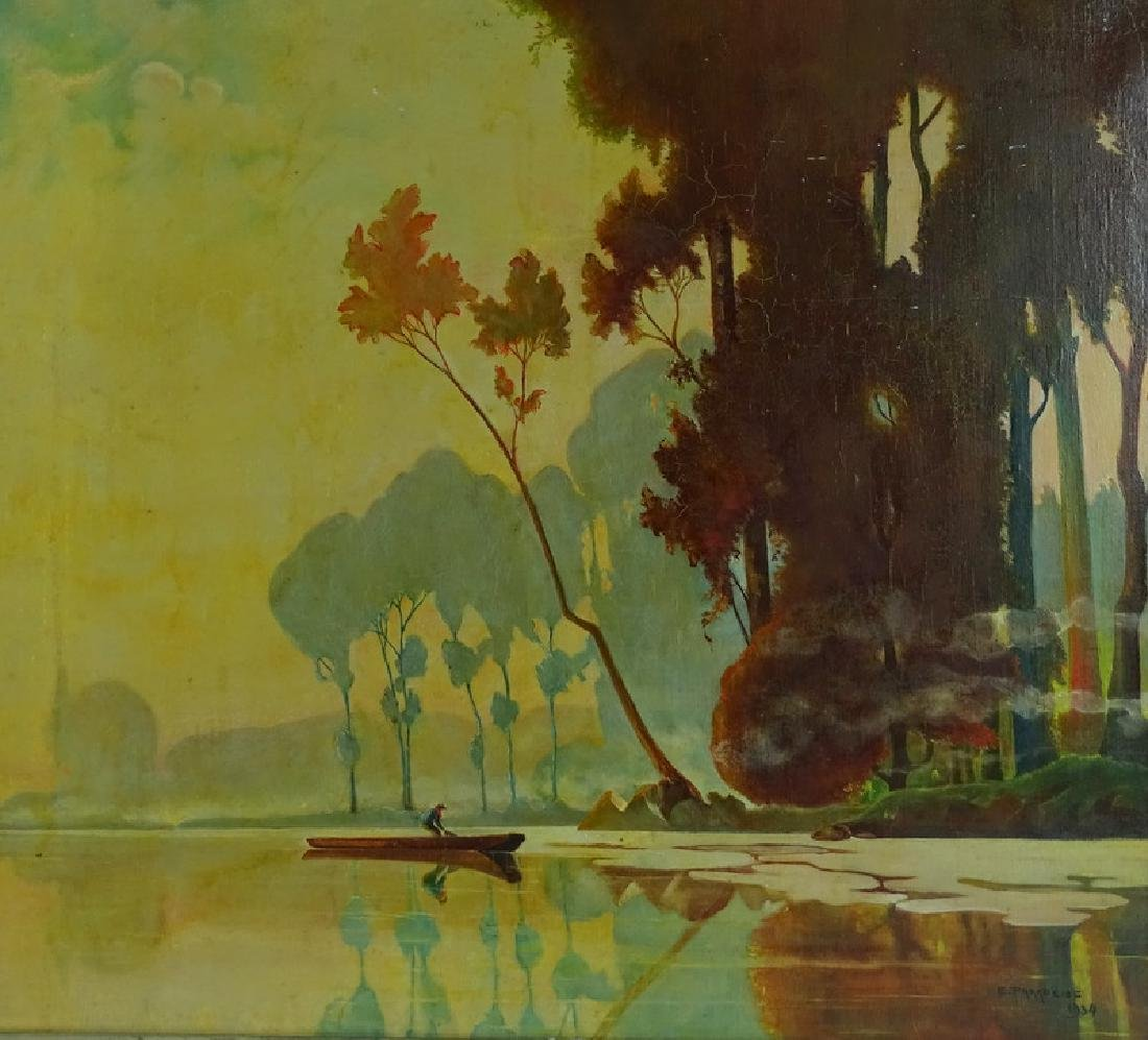 Signed 20th C. Lake Scene Oil Painting On Canvas