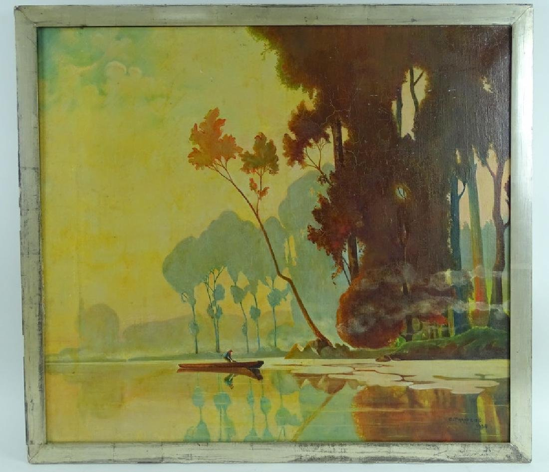 Signed 20th C. Lake Scene Oil Painting On Canvas - 2