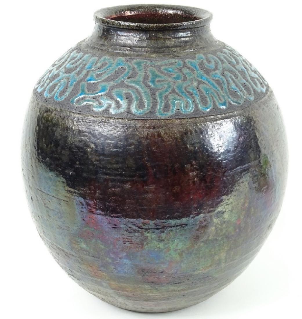 Signed 20th C. Metallic Glaze Pottery Vase