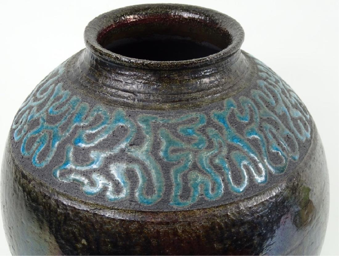 Signed 20th C. Metallic Glaze Pottery Vase - 2