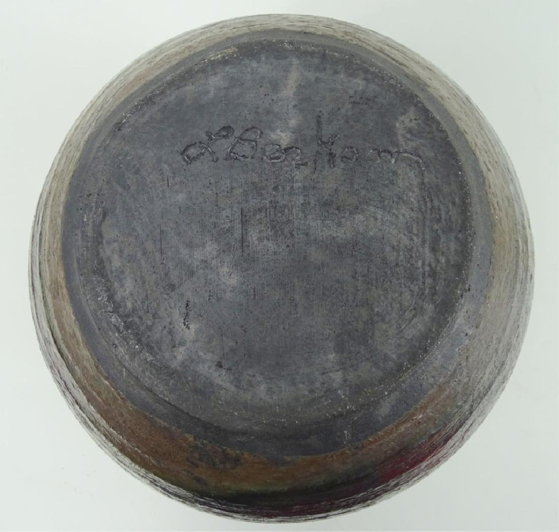 Signed 20th C. Metallic Glaze Pottery Vase - 3