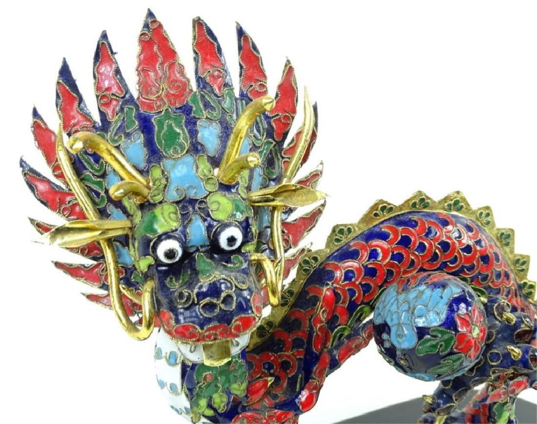 Chinese Hand Painted Cloisonne Dragon Figure - 3