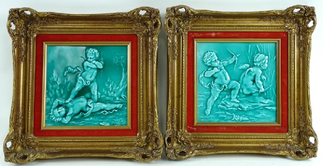 Framed Antique Minton Cherub Tile Plaques