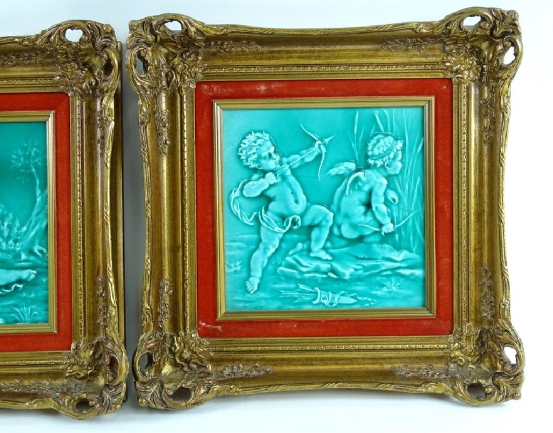 Framed Antique Minton Cherub Tile Plaques - 2