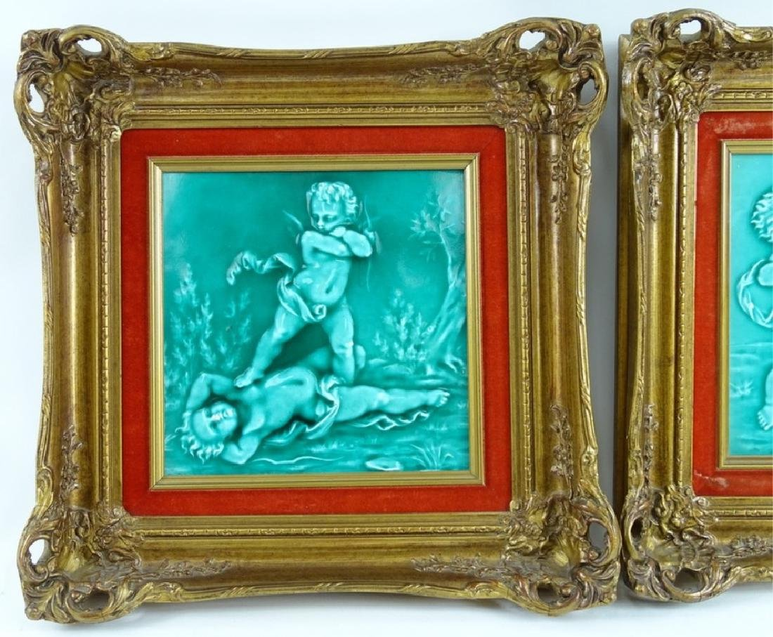 Framed Antique Minton Cherub Tile Plaques - 3