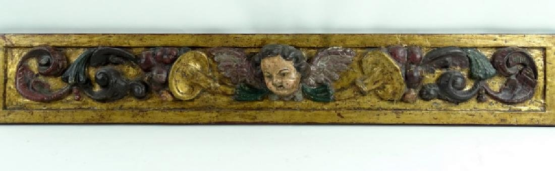 Antique Ornate Carved Wooden Cherub Wall Plaque
