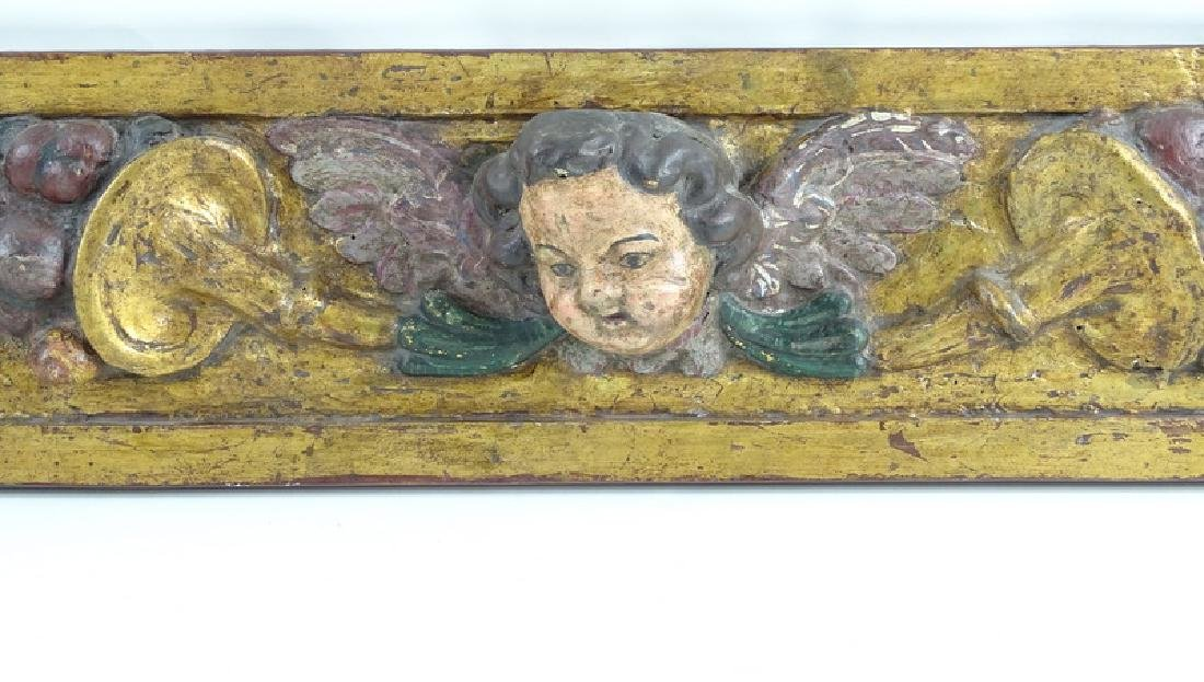 Antique Ornate Carved Wooden Cherub Wall Plaque - 2