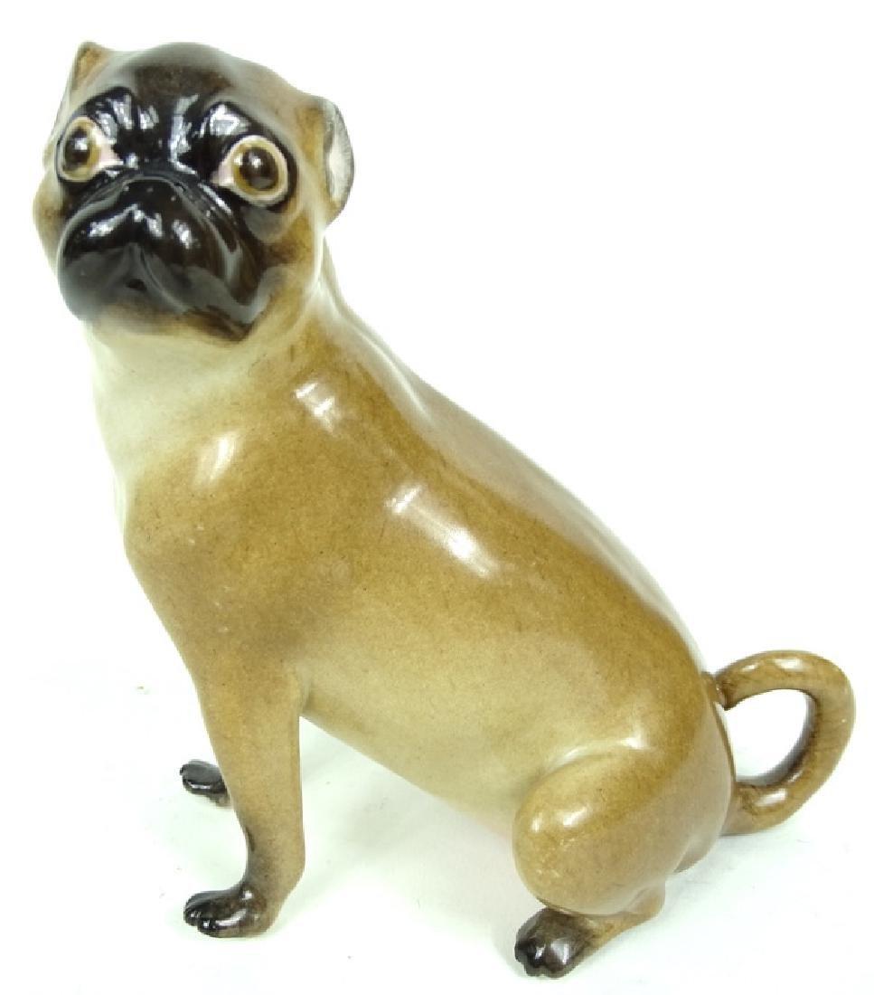 Antique German Meissen HP Porcelain Pug Figurine