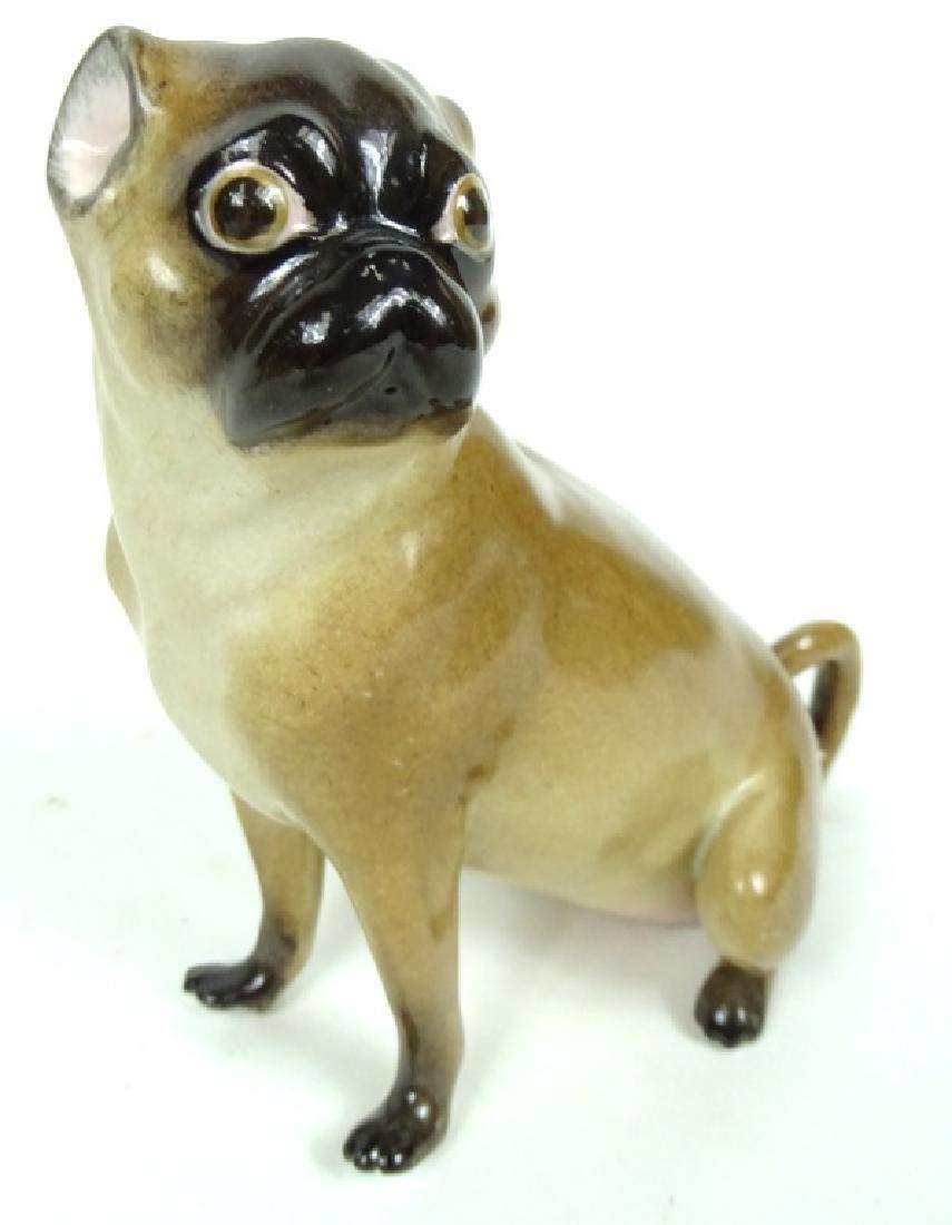 Antique German Meissen HP Porcelain Pug Figurine - 2