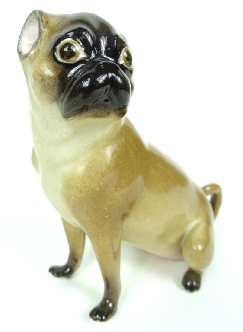 Antique German Meissen HP Porcelain Pug Figurine - 3