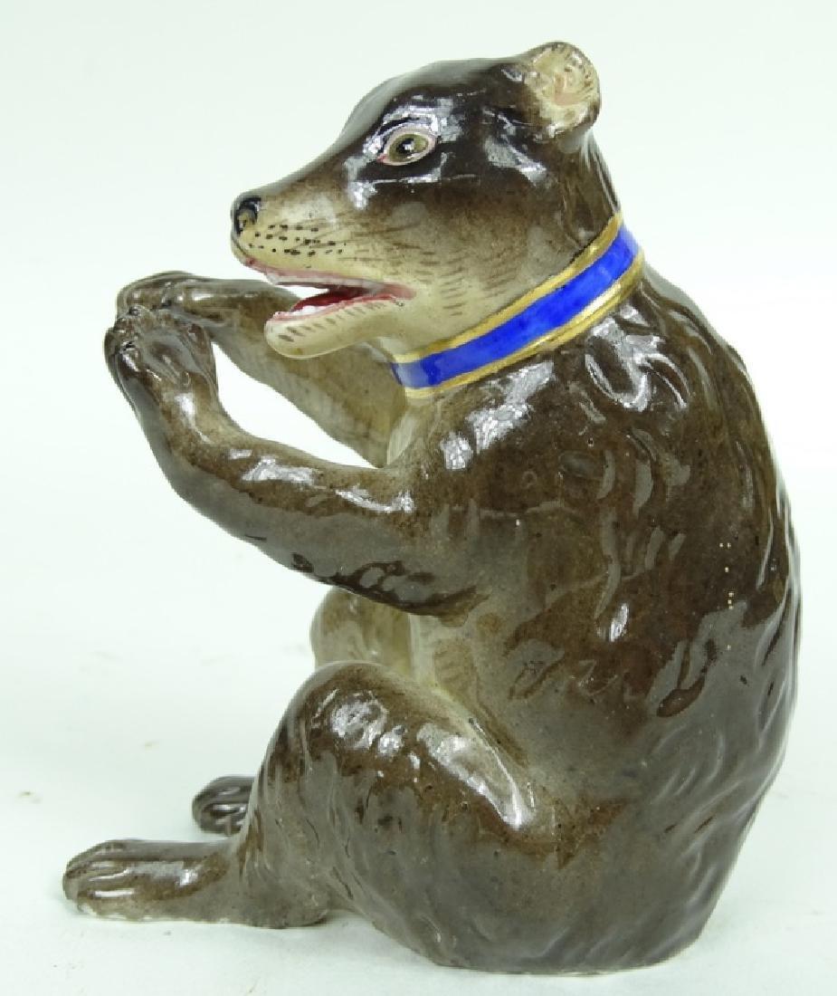Antique Meissen German Porcelain Bear Figurine - 3