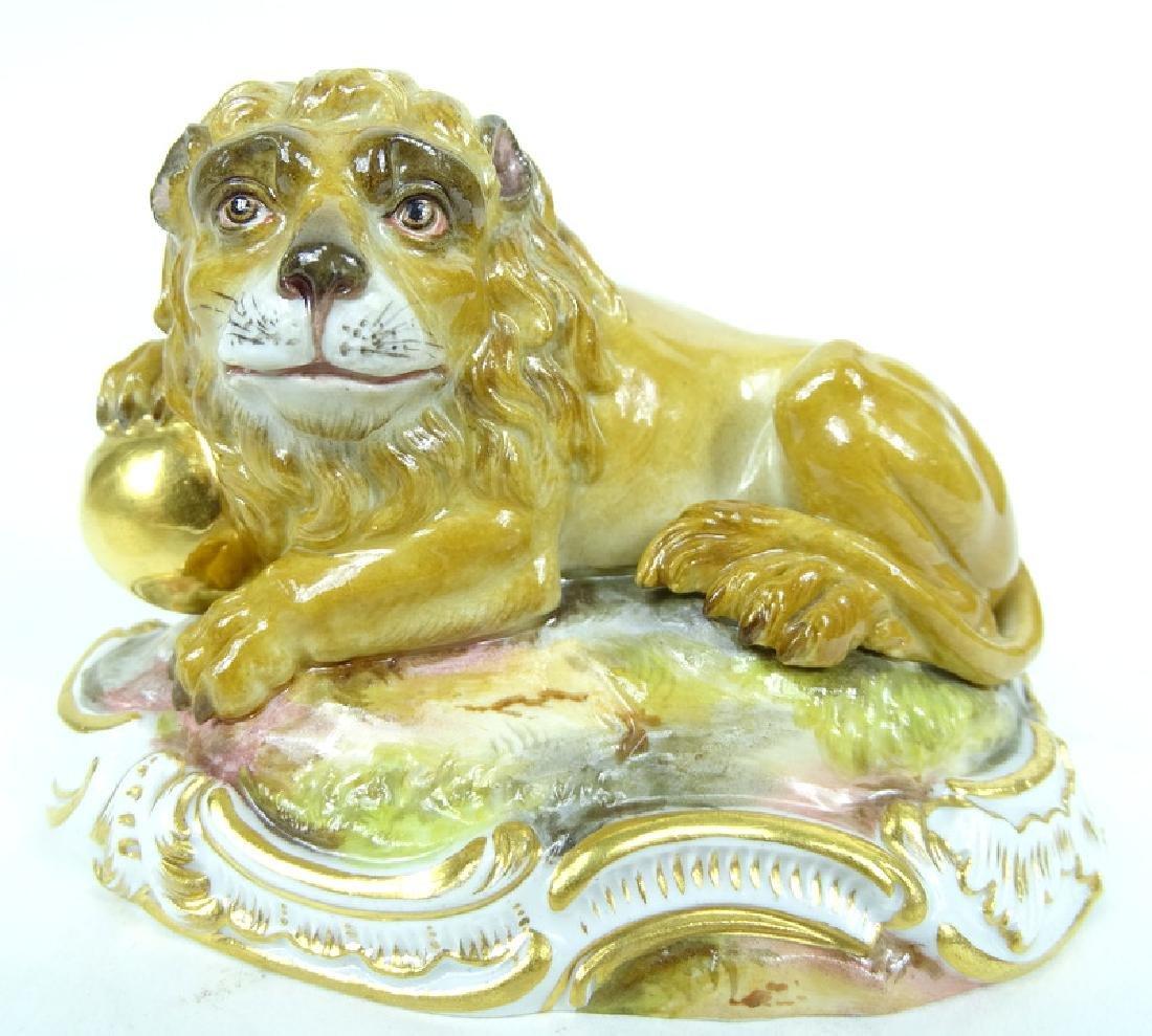 Antique Meissen German Porcelain HP Lion Figurine