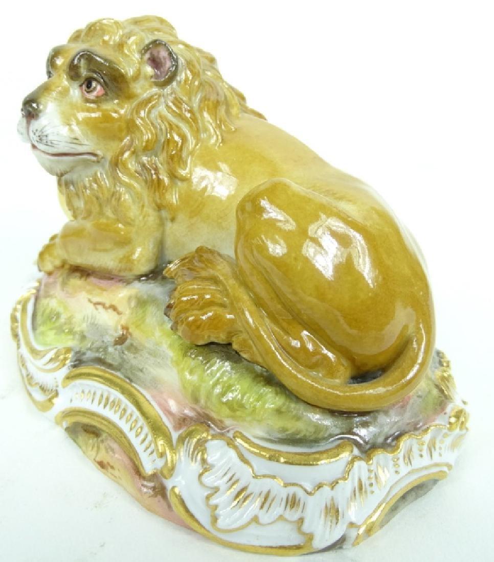 Antique Meissen German Porcelain HP Lion Figurine - 2