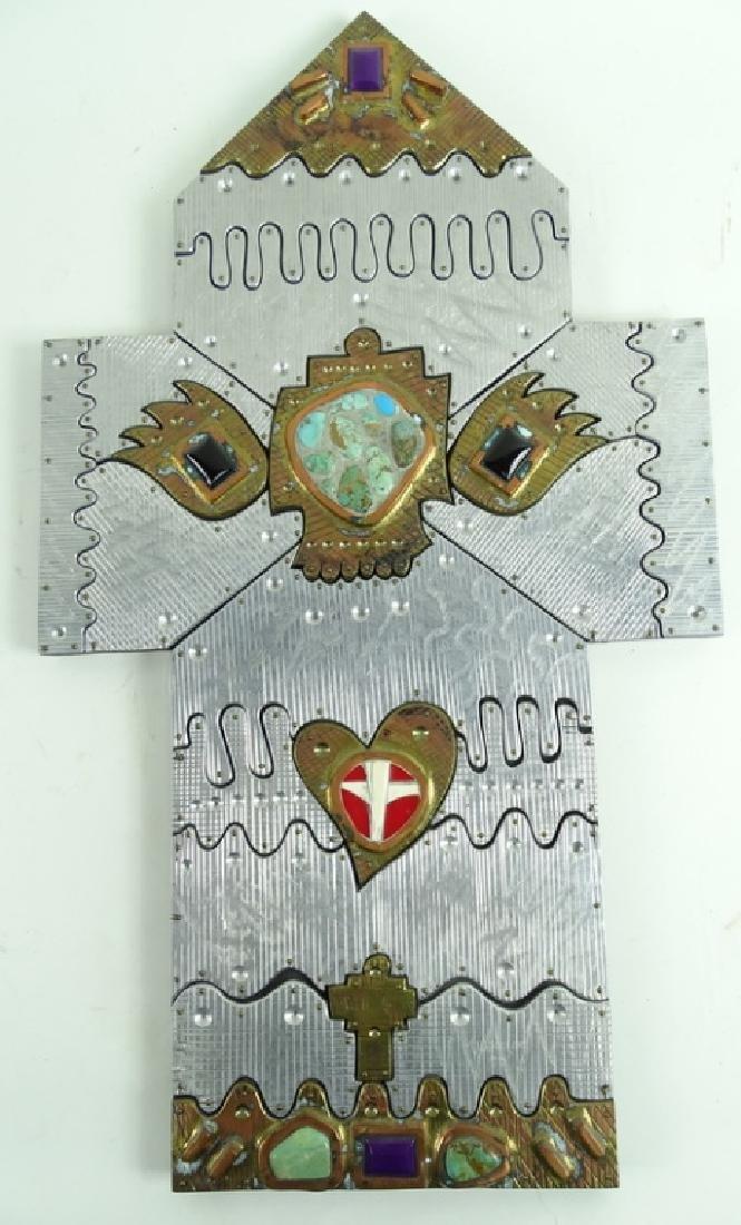 20th Century Signed Wheeler Cross Heart Sculptures