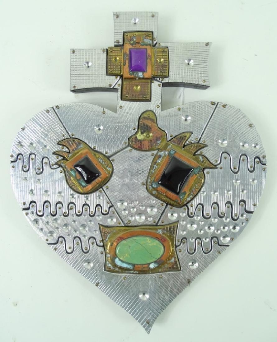 20th Century Signed Wheeler Cross Heart Sculptures - 2
