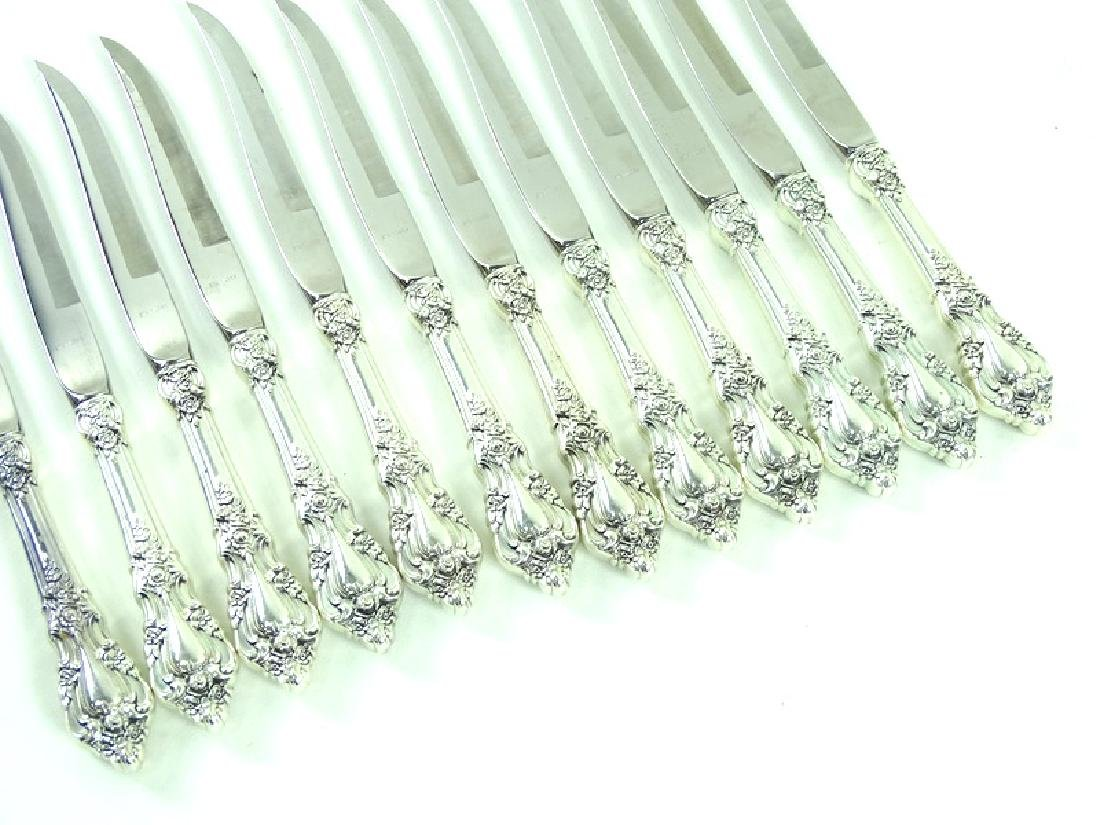 12 Lunt Eloquence Sterling Silver Steak Knives - 2
