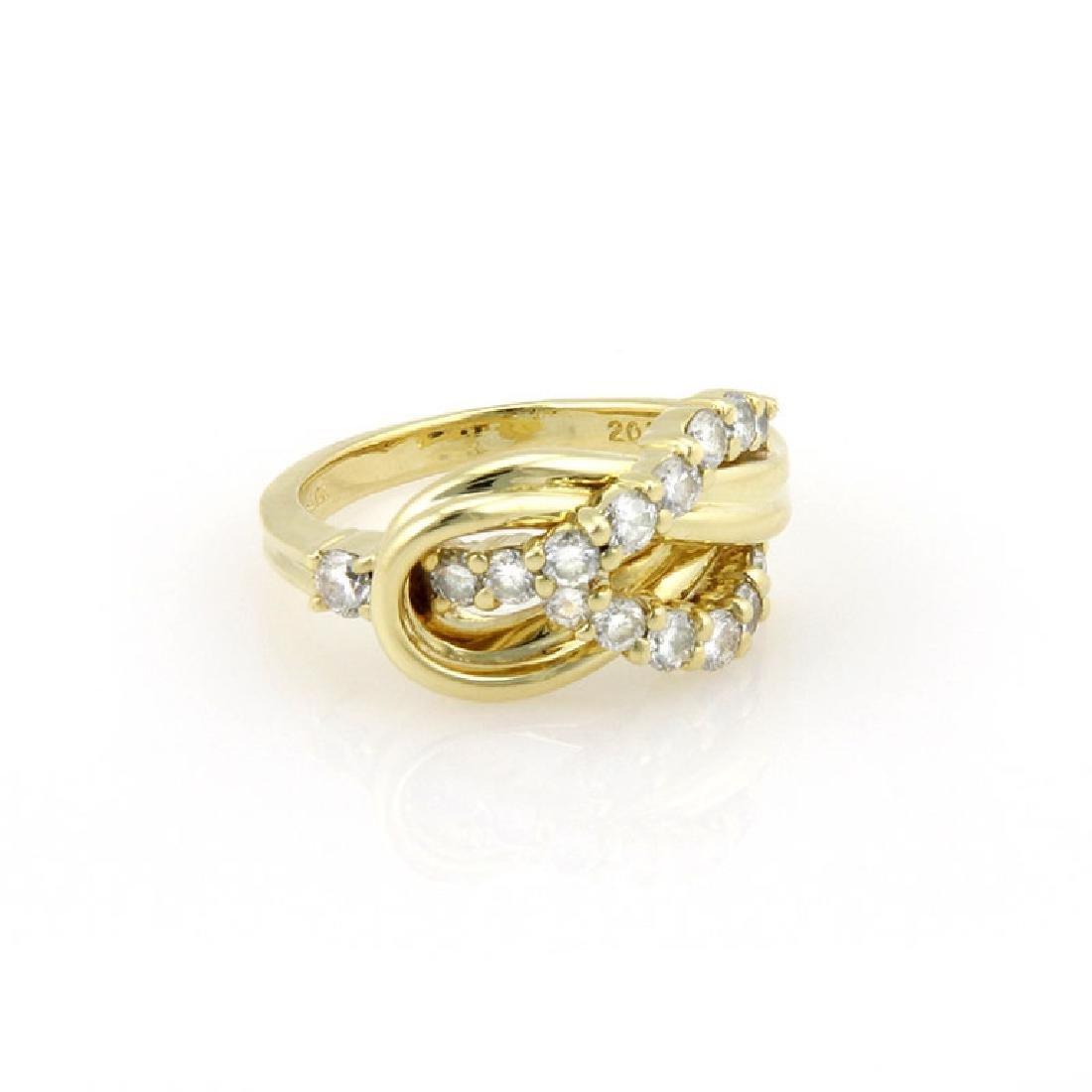 Jose Hess 18K Gold Diamond Knot Designer Ring