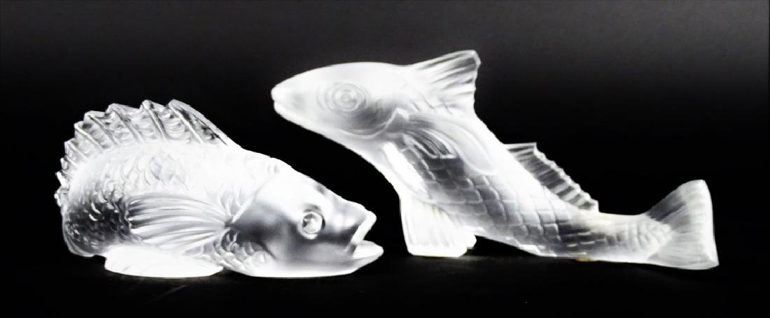 Pair of Baccarat French Crystal Koi Fish Figurines - 3