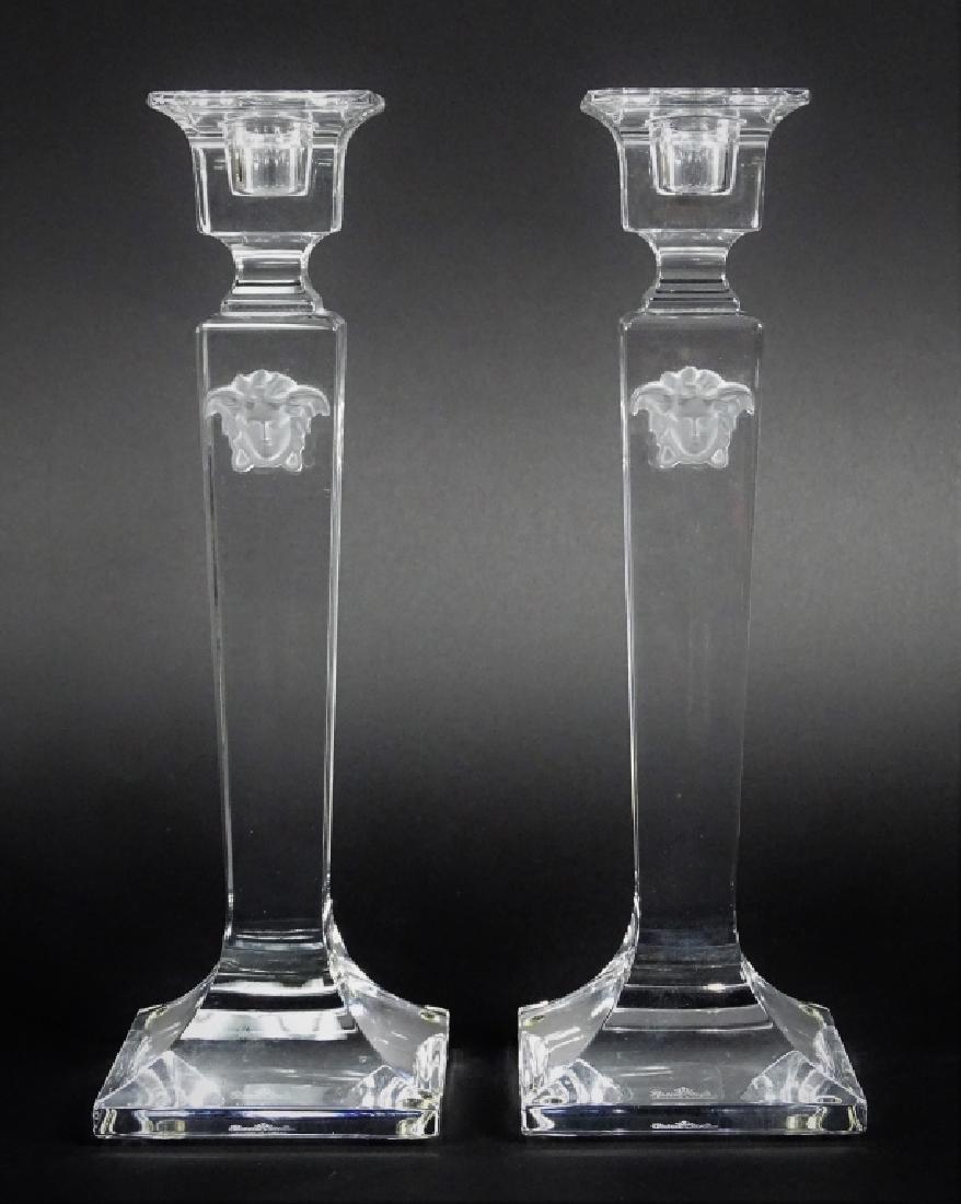 Rosenthal Versace Medusa Crystal Candlesticks