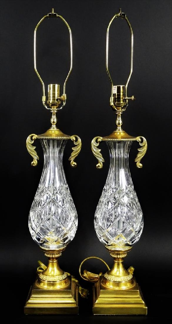 Pair of Waterford Cut Crystal & Brass Lamps