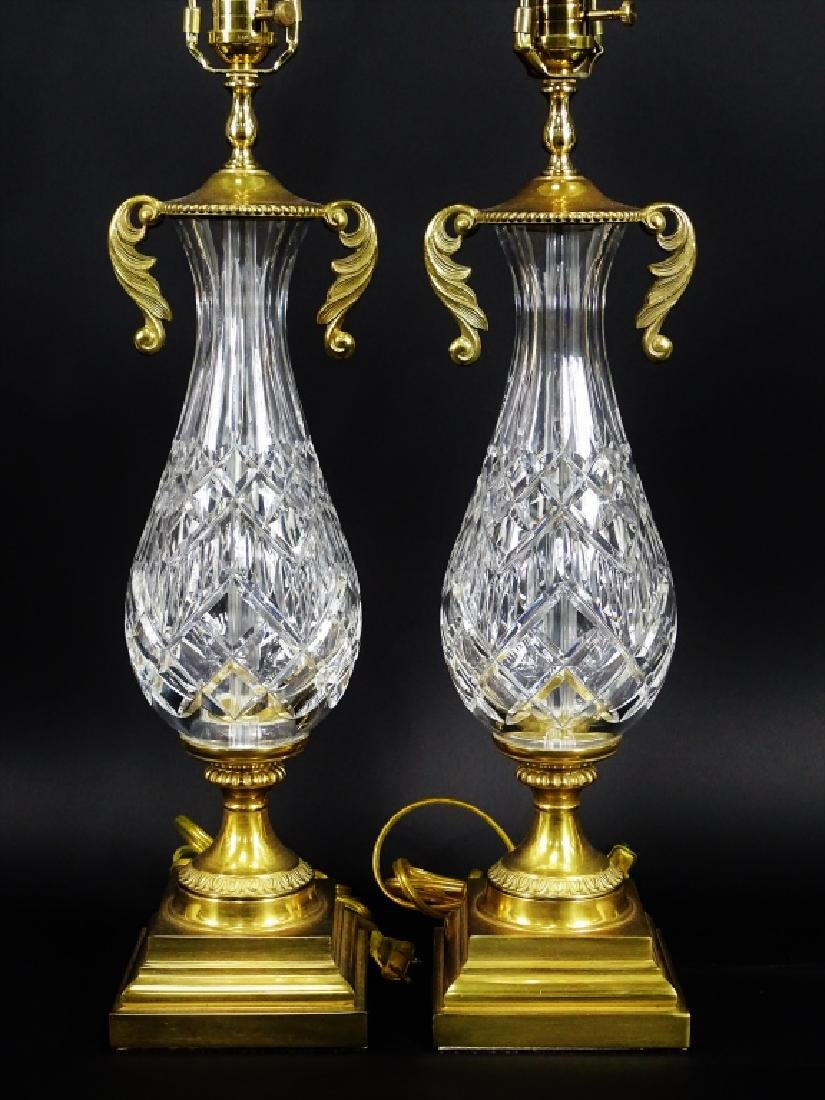 Pair of Waterford Cut Crystal & Brass Lamps - 2