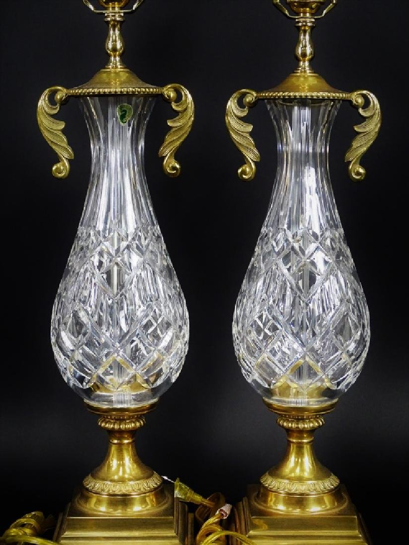 Pair of Waterford Cut Crystal & Brass Lamps - 3