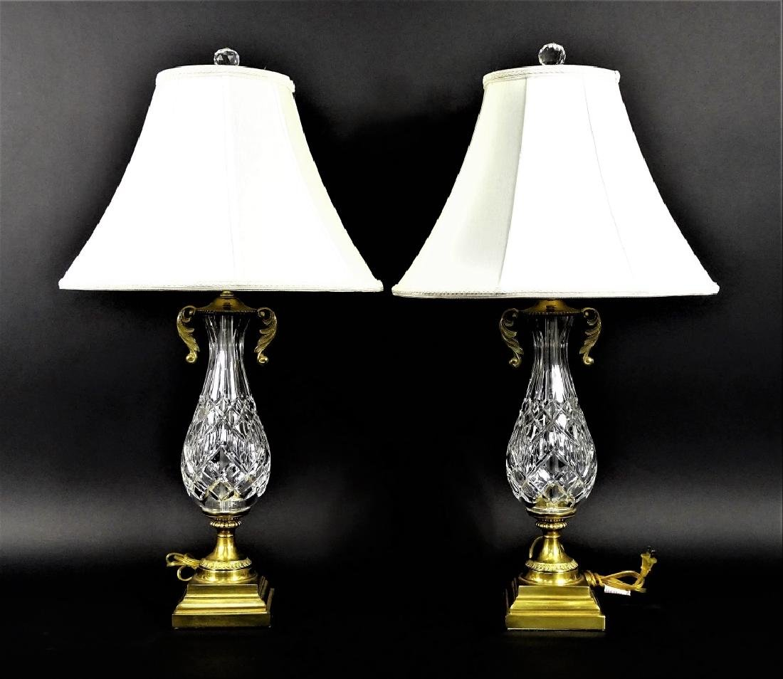 Pair of Waterford Cut Crystal & Brass Lamps - 8