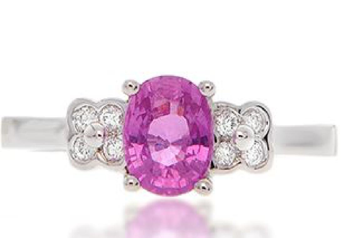 18K GOLD PINK SAPPHIRE RING WITH DIAMONDS