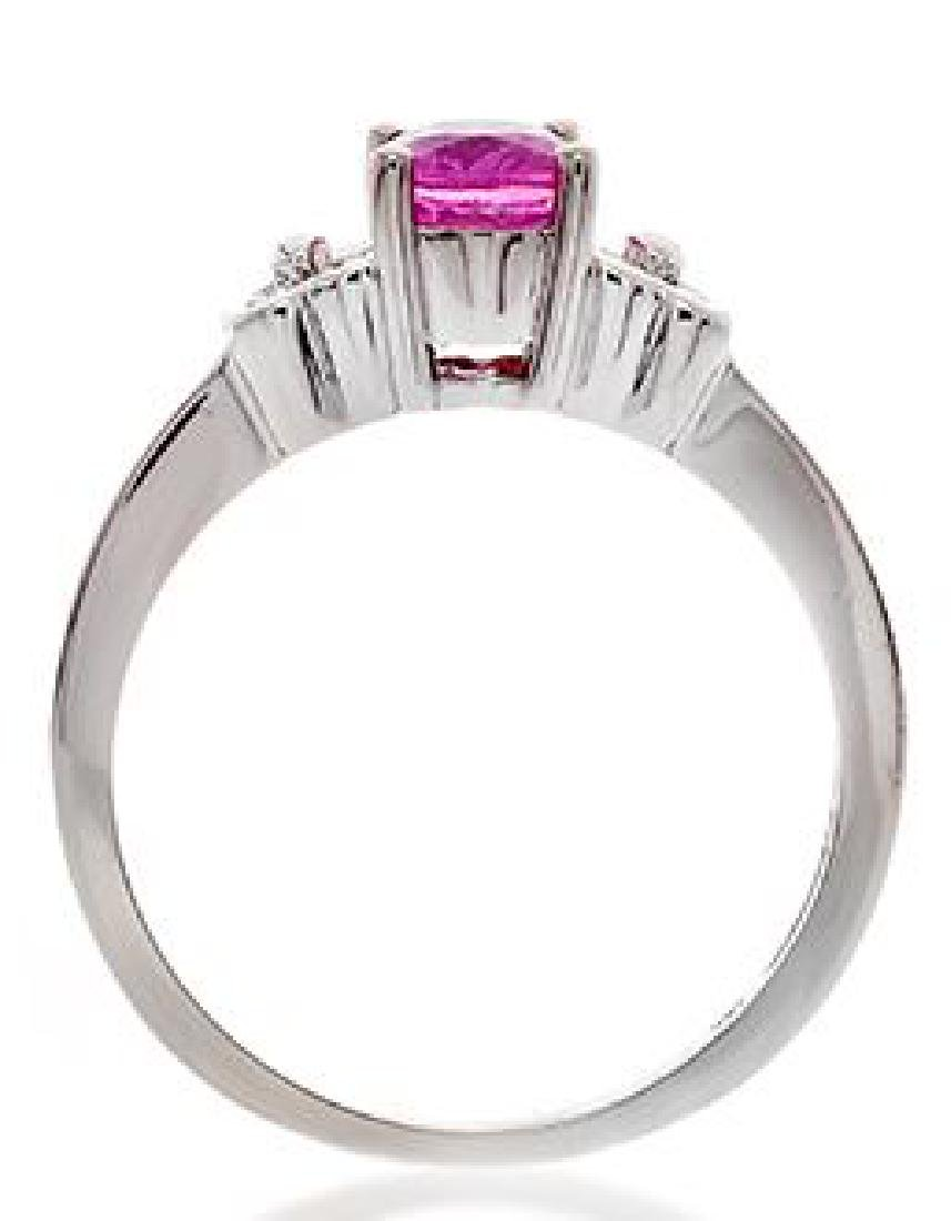 18K GOLD PINK SAPPHIRE RING WITH DIAMONDS - 3