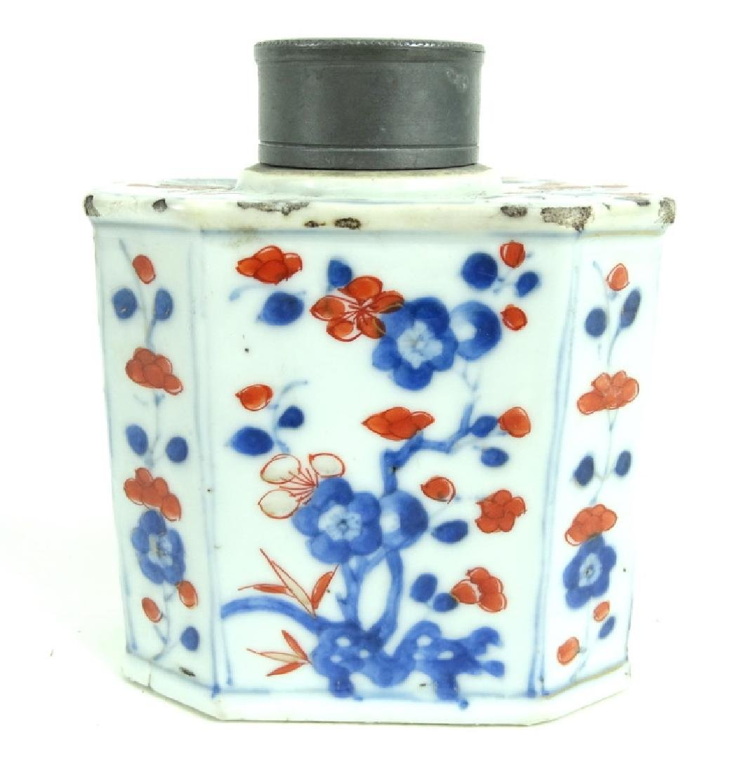 Chinese Hand Painted Porcelain Pewter Tea Caddy