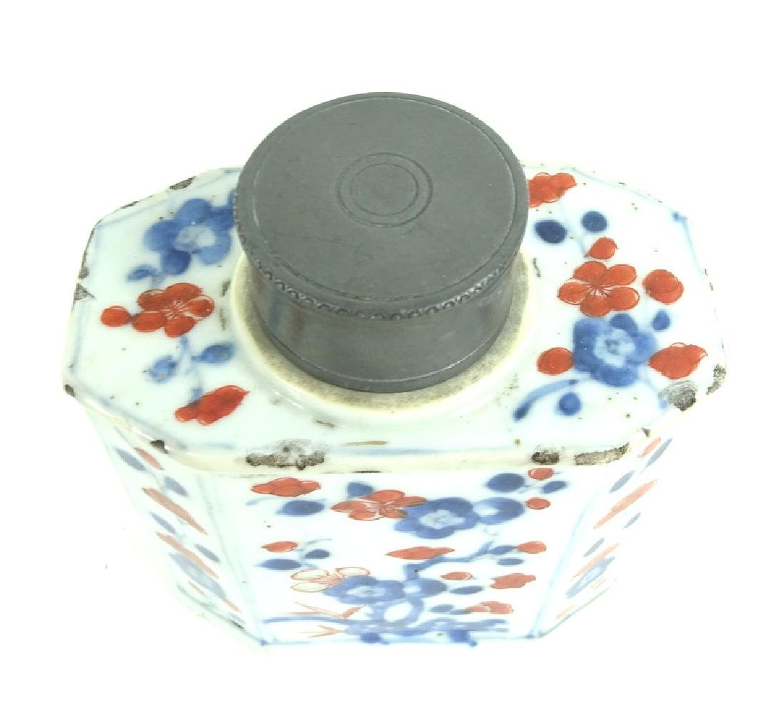 Chinese Hand Painted Porcelain Pewter Tea Caddy - 5