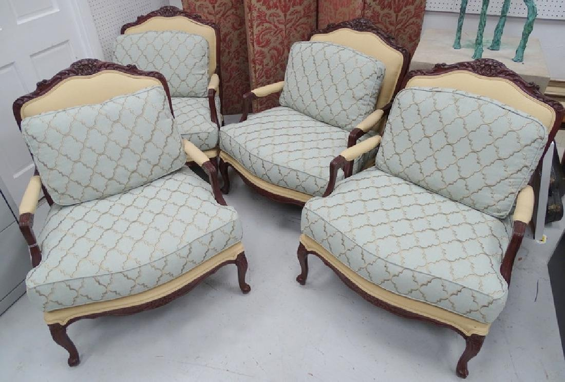 Four French Transitional Style Carved Arm Chairs