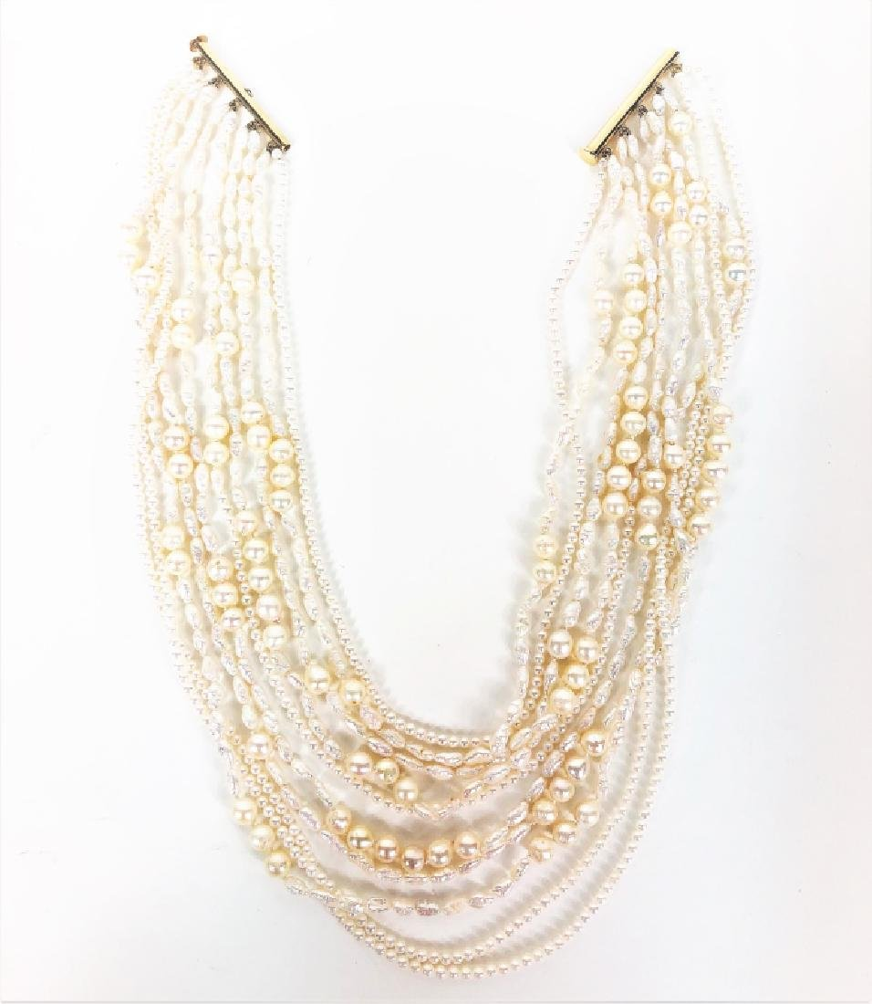 Exquisite 10 Stranded Pearl Necklace