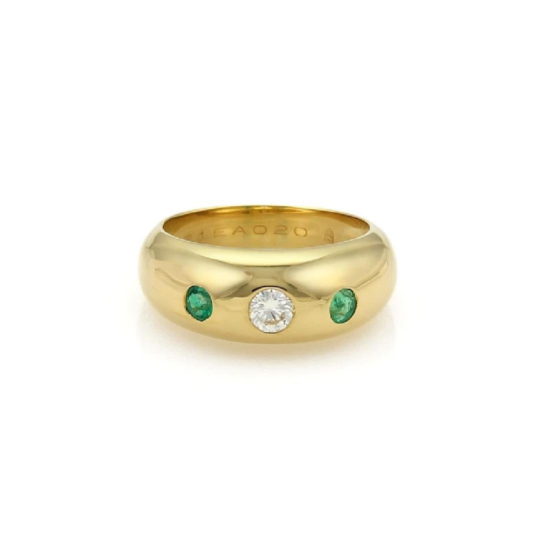 Cartier Gypsy Diamond Emerald 18k Gold Dome Band