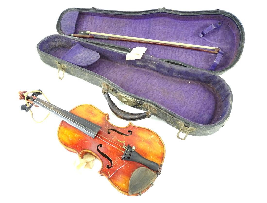 Antique Estate Fiddle, Bow & Case