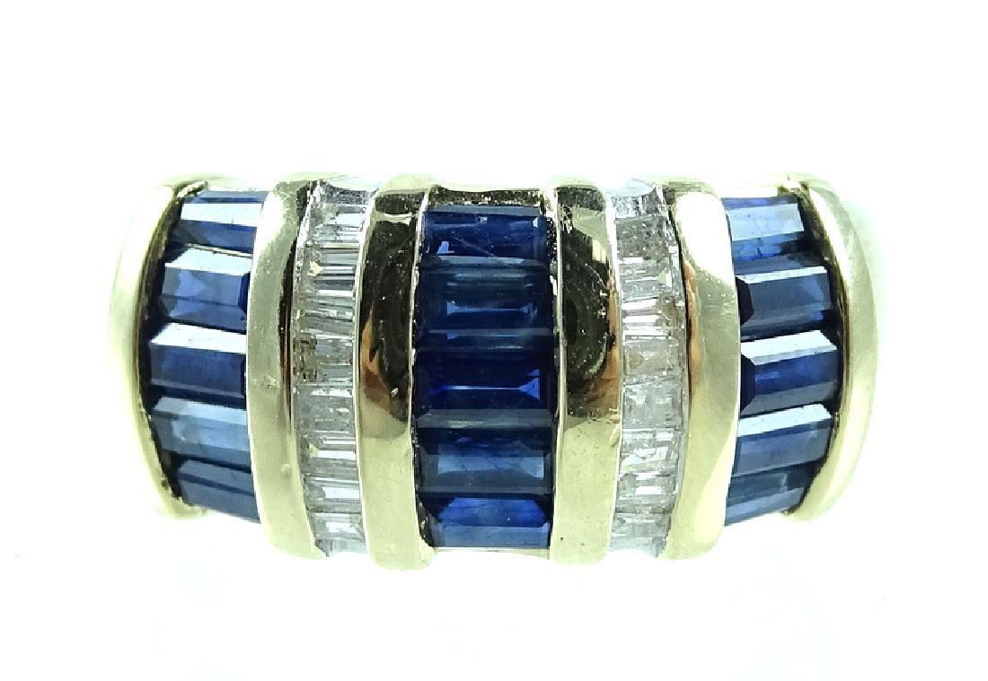 Estate 14K Gold Baguette Diamond & Sapphire Ring