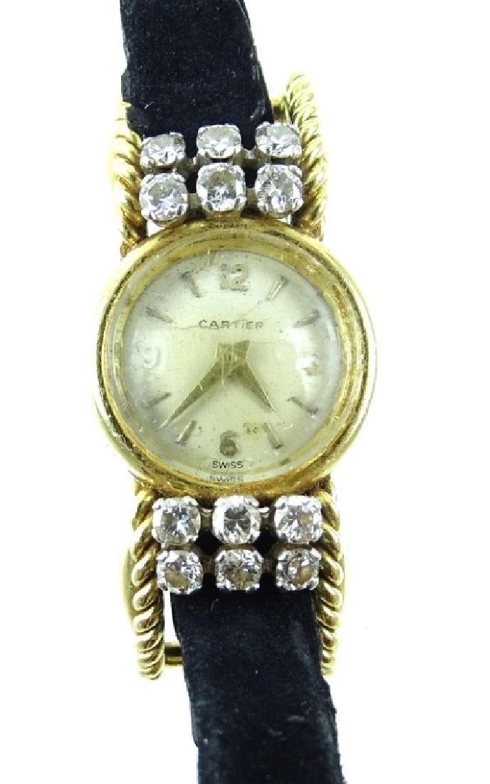 Vintage Cartier 18K Gold & Diamond Ladies Watch