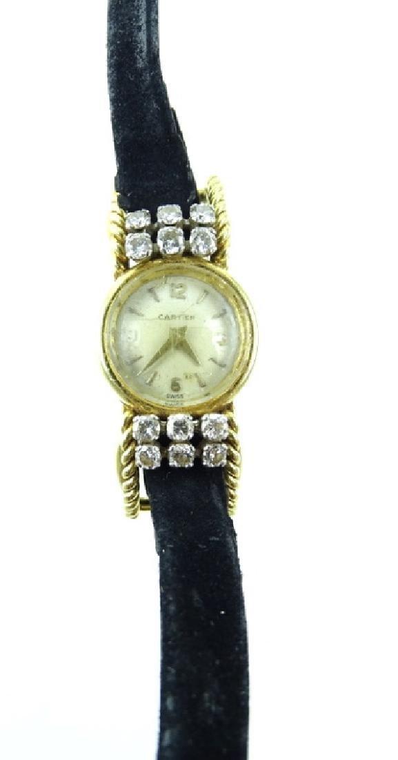 Vintage Cartier 18K Gold & Diamond Ladies Watch - 2