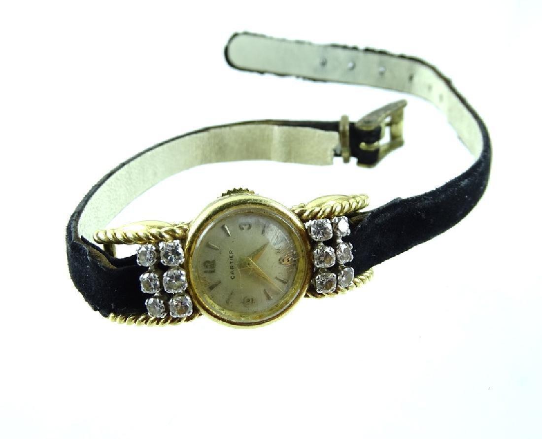Vintage Cartier 18K Gold & Diamond Ladies Watch - 4
