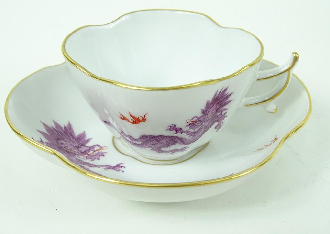 Antique Meissen German Porcelain Teacup & Saucer